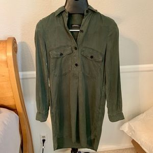 ZARA Green button down Long sleeve Dress
